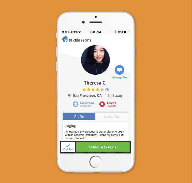 TakeLessons Mobile Profile